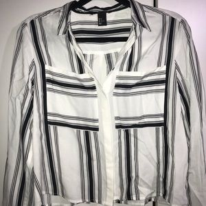 H&M cropped striped button down